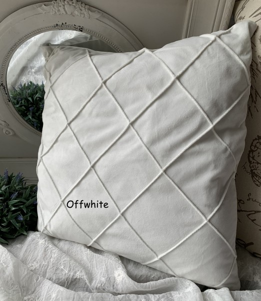 Kissen Bezug Hülle JONNY Samt Offwhite 50x50 cm Deko Landhaus Polyester