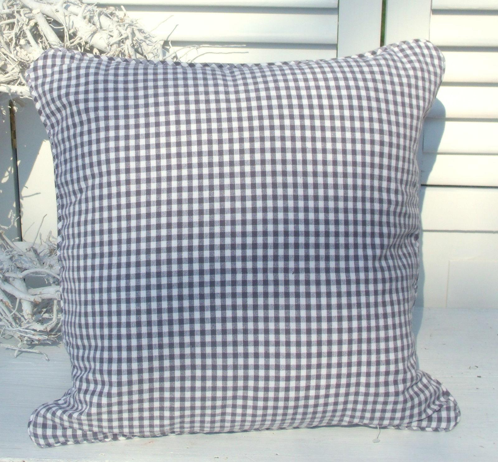 kissenbezug carla grau 45x45 cm vichy karo kissenbez ge. Black Bedroom Furniture Sets. Home Design Ideas