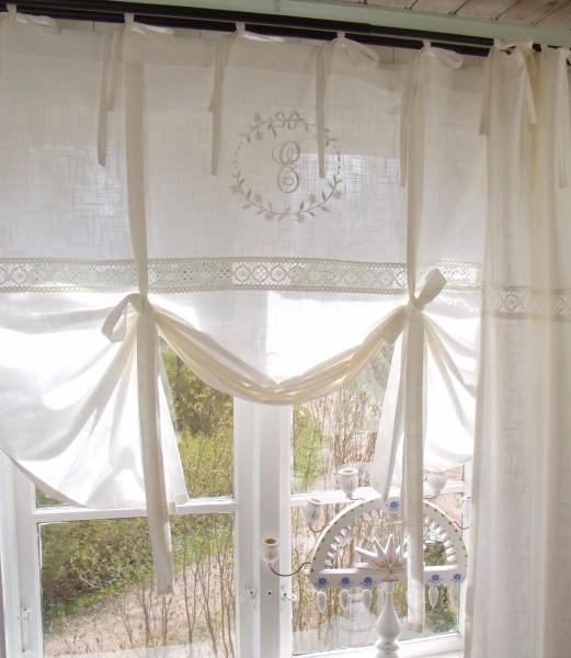 raff gardine emilia offwhite bestickt 120x120 cm raffgardinen rollos gardinen lillabelle. Black Bedroom Furniture Sets. Home Design Ideas