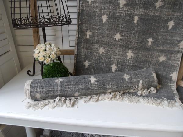 Teppich Läufer USED Grau Creme Webteppich in 2 Größen
