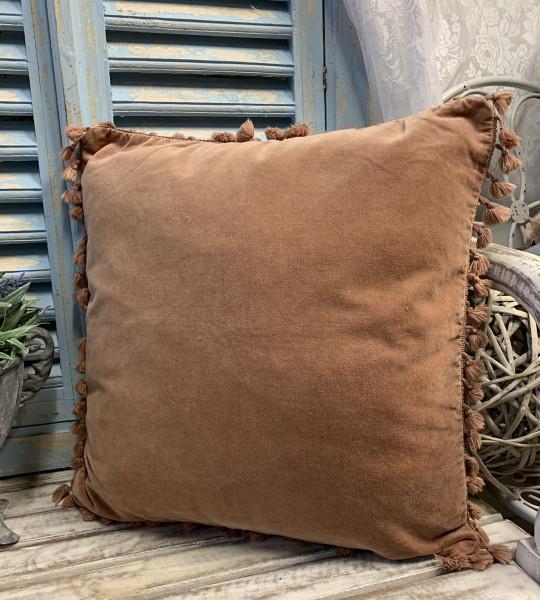 Kissen Bezug Hülle FANNY Rosa 45 x 45 cm Samt Troddeln Baumwolle Landhaus