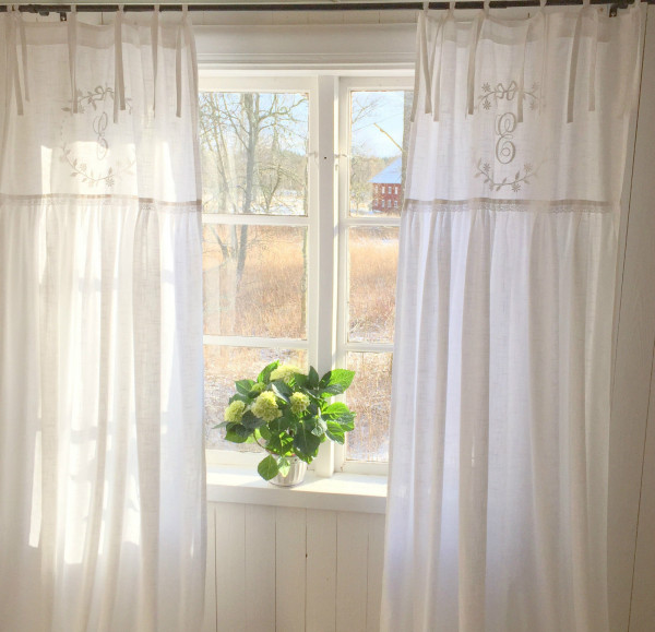 OFFWHITE Vorhang CRYSTAL NY Gardinen Schals 70x250 cm 2 Stück Bandaufhängung Vorhangset Shabby Vinta