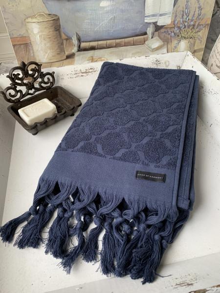 Bade Dusch Handtuch DINA Marine 70x140 cm Frottee Handtuch Fransen