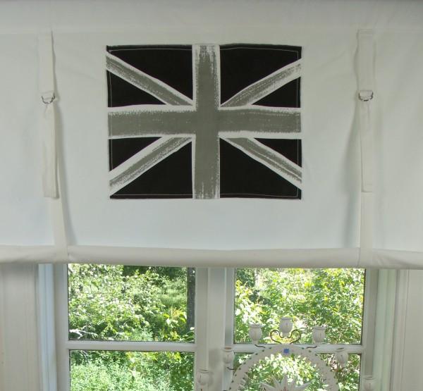 Raff Gardine ENGLAND Rollo weiß grau 100x120 cm Flagge Union Jack