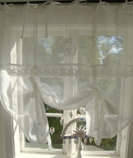 Raff Gardine MARIELLA OFFWHITE Leinen 80/100/120/140/160/180 cm breit Shabby Brocante Vintage