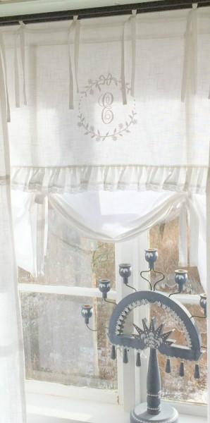 WEIß Raff Gardine CRYSTAL NY 80x90 cm Scheiben Küchen Gardine Vorhang Vintage Bandaufhängung