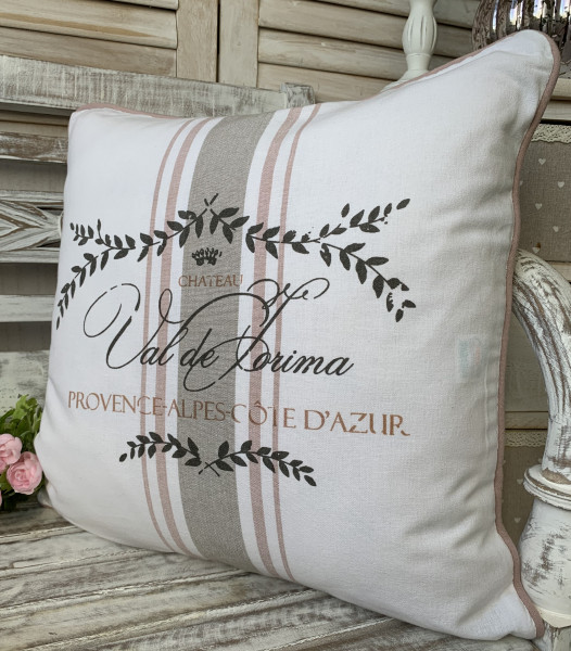 Kissen Hülle Bezug MAJE ROSA weiß rosa 45x45 cm Baumwolle Landhaus Shabby