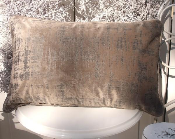 Samt Kissen Bezug Hülle CHARME 30x50 cm SAND Glanz Schimmer Polyester