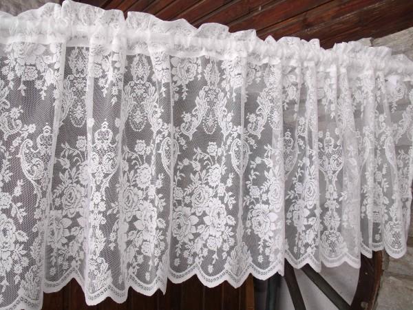 WEIß Scheiben Bistro Gardine LUCIA 55x250 cm Spitzen Rosen Kurz Küchengardine Quebehang Gardine