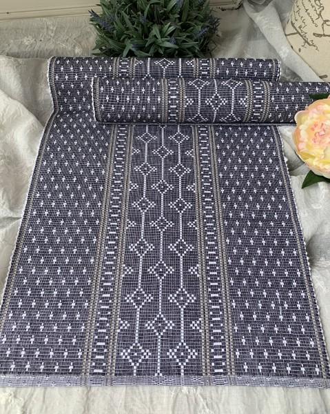 Tischläufer SANA Blau Weiß Grau 35x120 Baumwolle Skandinavischer Landhaus Stil