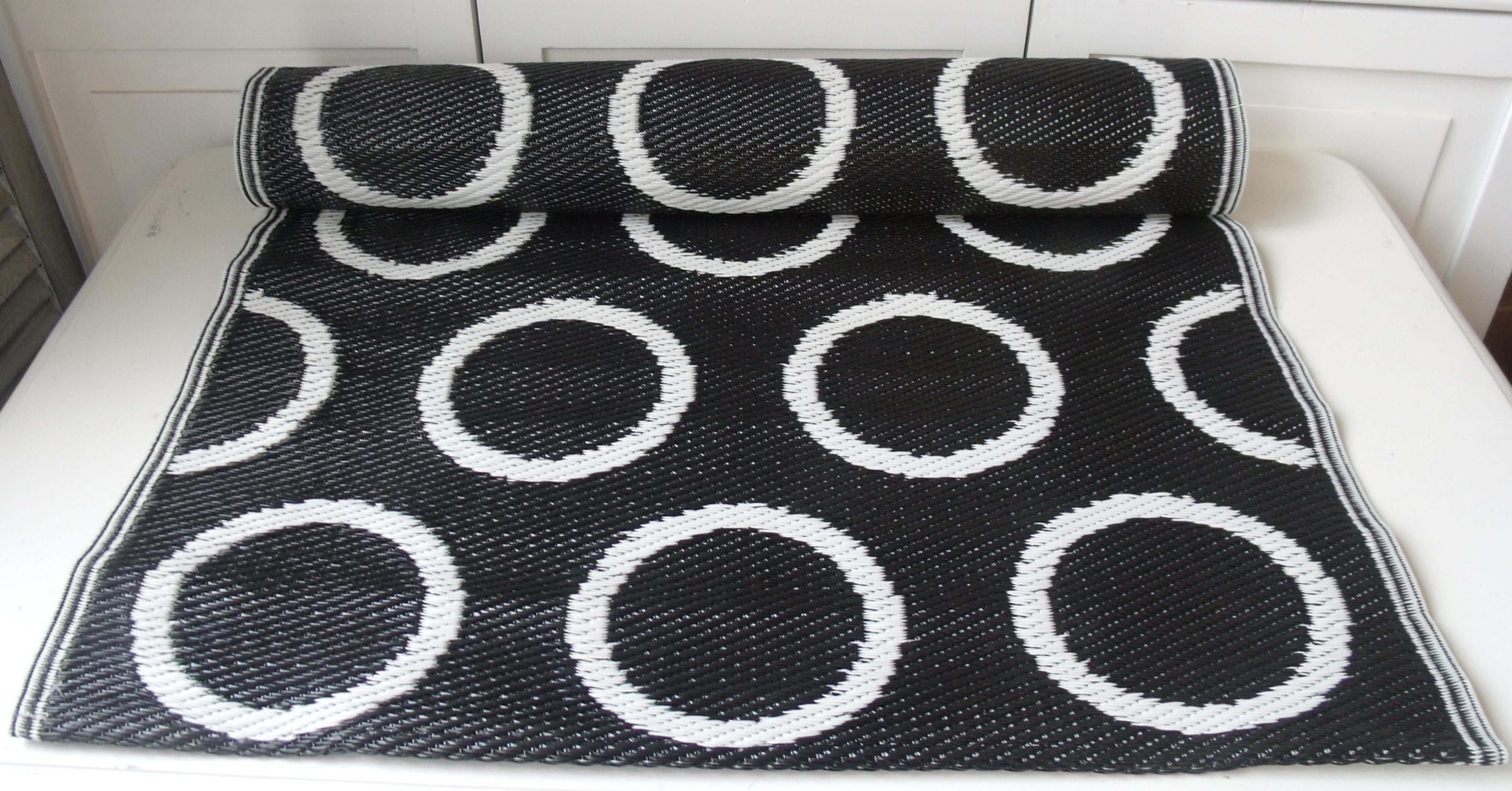 pvc outdoor teppich l ufer moritz schwarz wei 75x200 cm flickenteppich flickenteppiche. Black Bedroom Furniture Sets. Home Design Ideas