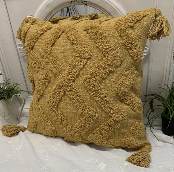 Kissen Bezug Hülle PINA Saffran 48 x 48 cm Baumwolle Troddeln Landhaus