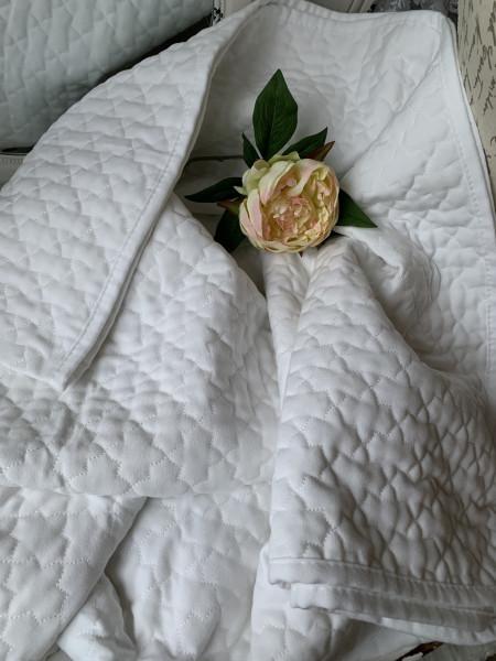 Tagesdecke LEIA 180 x 260 Weiß Einzelbett Steppdecke Sofaüberwurf Landhaus Polyester