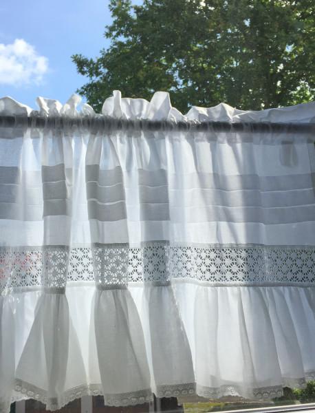 Kurz Scheiben Gardine ISABELLA 46x250 cm transparent Volant Landhaus Shabby Spitze
