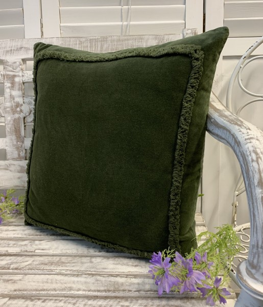 Kissenbezug Hülle ANDO dunkel Grün 45x45 cm Samt Baumwolle/Leinen