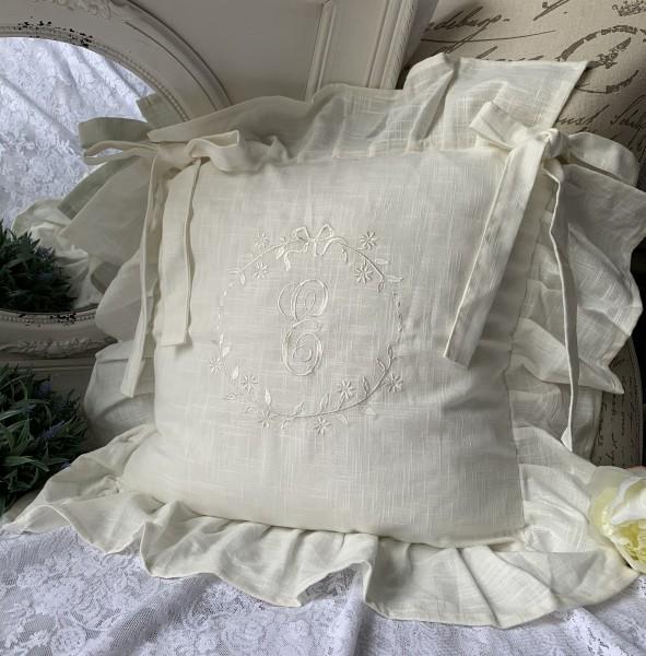 Stuhlkissenbezug EMILIA OFFWHITE Creme Volant 4 Seiten Baumwolle Stuhlkissen Hülle Landhaus