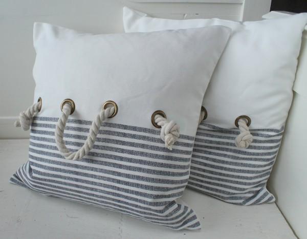 Kissenbezug MARITIM 45x45 cm offwhite Kordel Ösen Meer See Shabby Polyester Baumwolle