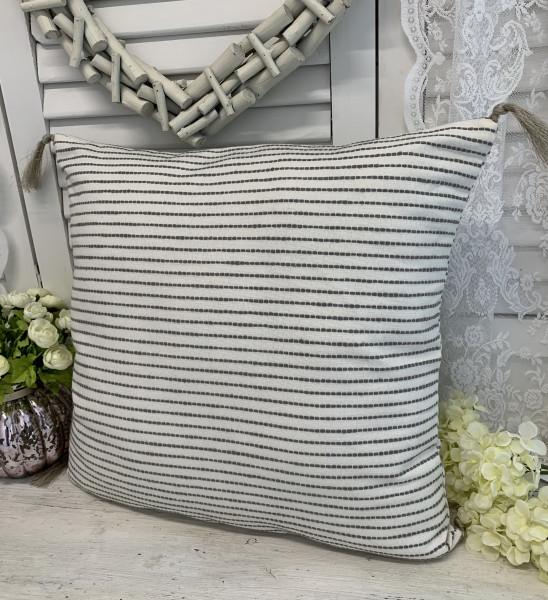 Kissen Bezug Hülle HEDDA Offwhite Grau Troddeln 48 x 48 cm 100% Baumwolle Landhaus