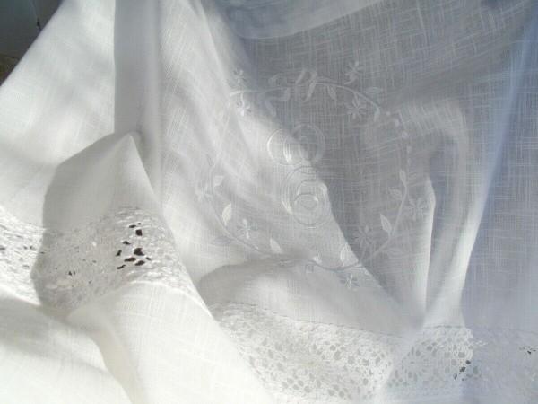 Vorhang CRYSTAL WEISS Gardine 120x240 cm 2 STÜCK bestickt Spitze Baumwolle