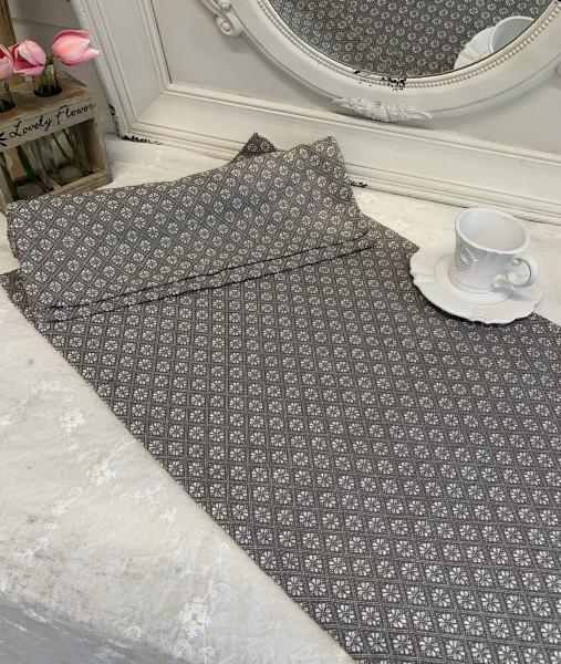 Tischläufer TILLA Grau Weiß 40 x 140 cm Baumwolle Landhaus