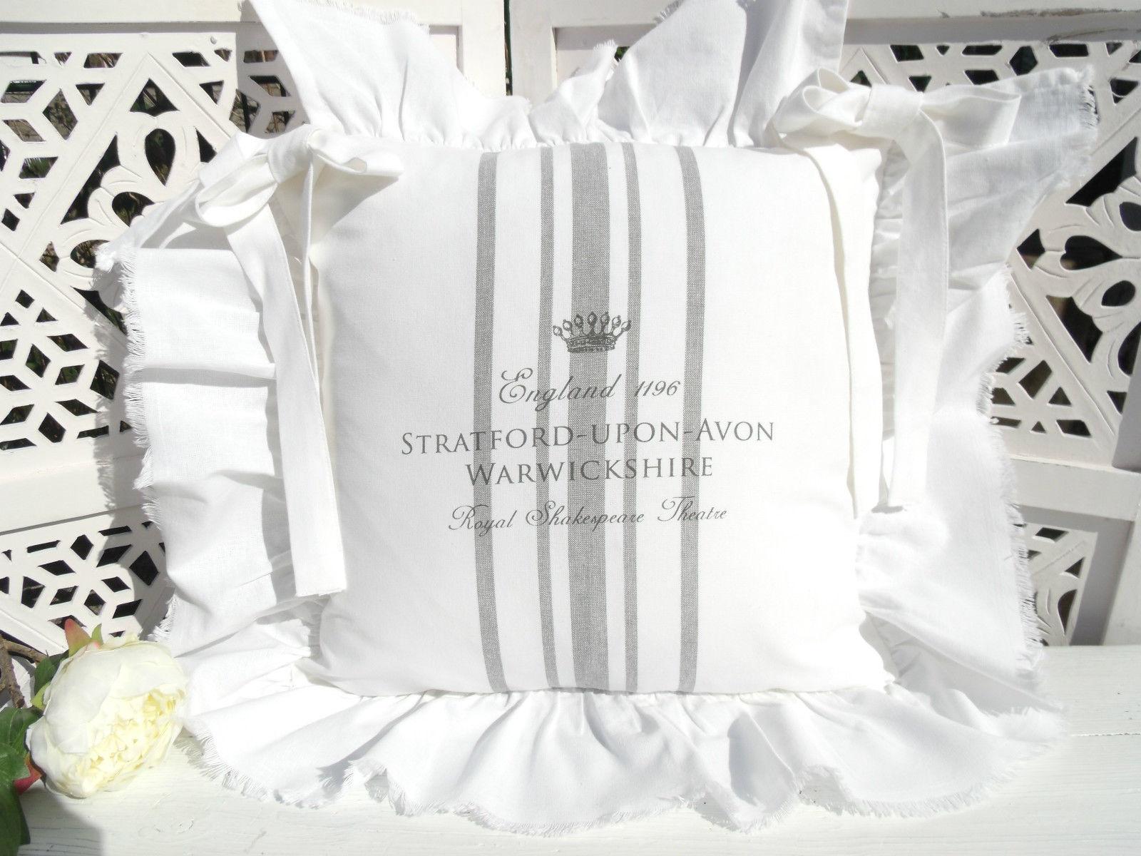 Stuhlkissenbezug Stratford Weiss Grau 40x40 Cm Shabby Chic Vintage Baumwolle