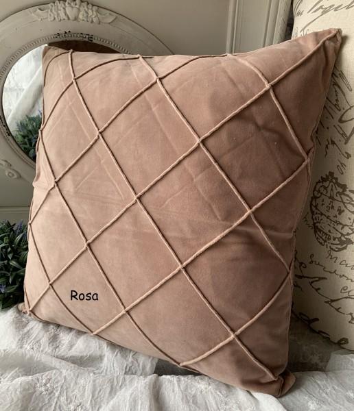 Kissen Bezug Hülle JONNY Samt Rosa 50x50 cm Deko Landhaus Polyester