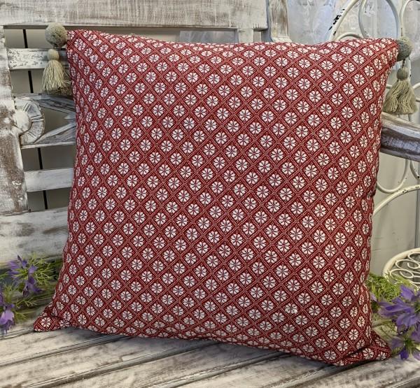 Kissen Bezug Hülle TILLA Rot / Weiß 45 x 45 100% Baumwolle Quasten Landhaus