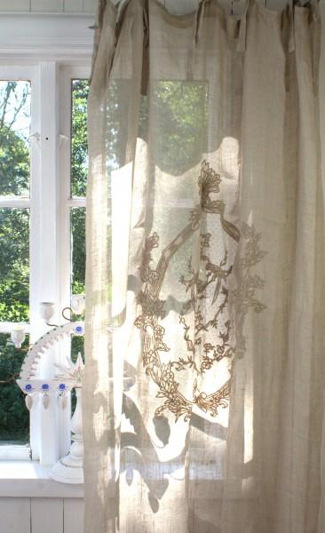 Vorhang NOEL Leinen Gardine 2 Stück 120x240 cm Sand Shabby Vintage-