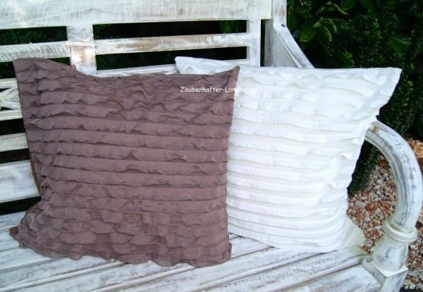 Kissenbezug CARLOTTA Dekokissen 45x45 Wollweiß oder Braun Landhausstil Shabby Chic Polyester