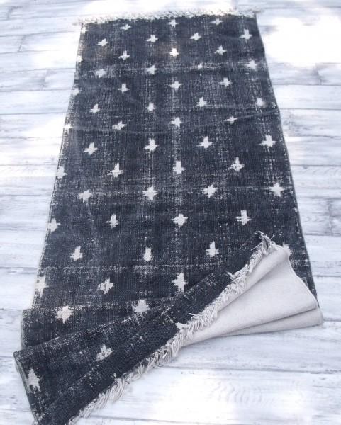 Teppich Läufer USED Schwarz Creme Webteppich in 2 Größen