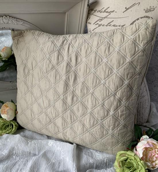 Kissen Bezug Hülle Mona Sand 50x60 cm Deko Landhaus Polyester