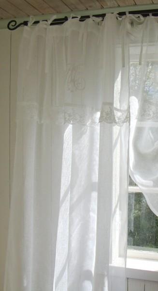 Vorhang MARIELLA Leinen Gardinen 1 Schal 120x240 cm Weiß Shabby Vintage