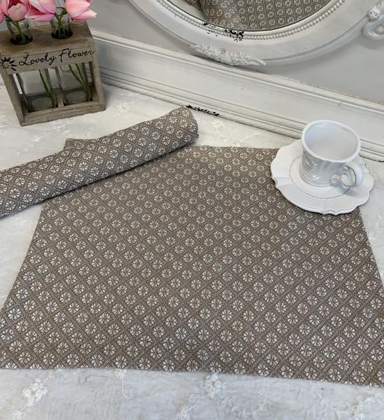 Tischset Platzset TILLA Sand Weiß 2 x 35 x 45 cm Baumwolle Landhaus