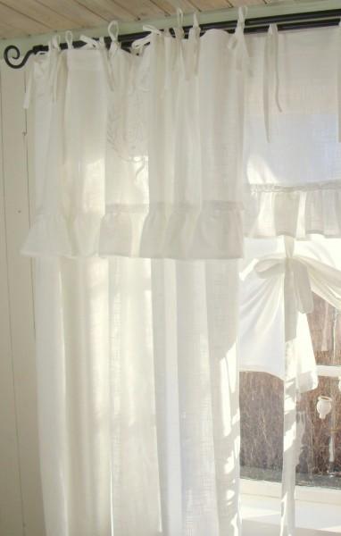 Vorhang LARA Offwhite Gardine 140x250 cm 2 Stück Volant bestickt Landhaus Shabby Vintage