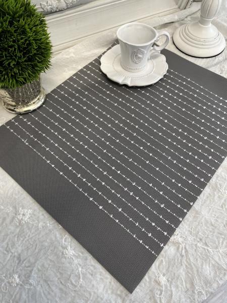Tischset Platzset VINNY Grau 2 Stück 35 x 45 cm Vinyl Landhaus
