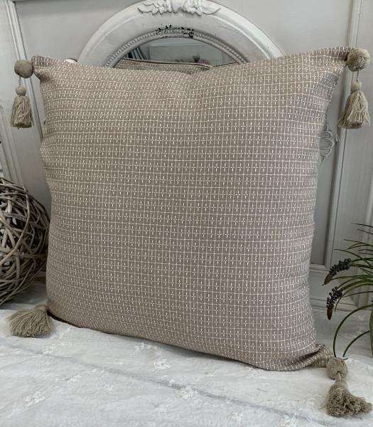 Kissen Bezug Hülle SISSI Sand Weiß 48 x 48 Baumwolle Quasten Troddeln Landhaus