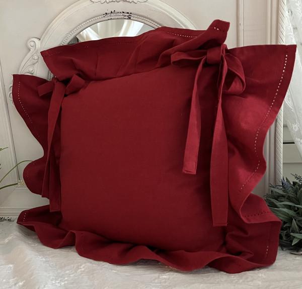 Stuhlkissenbezug ROMA Rot 42x42 cm Volant 4 Seiten Baumwolle