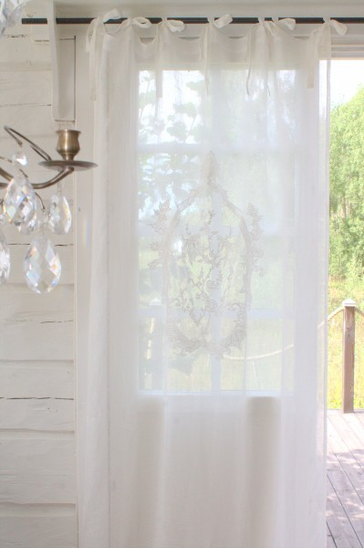 Vorhang NOEL Leinen Gardine 2 Stück 120x240 cm Weiß Shabby Vintage offwhite