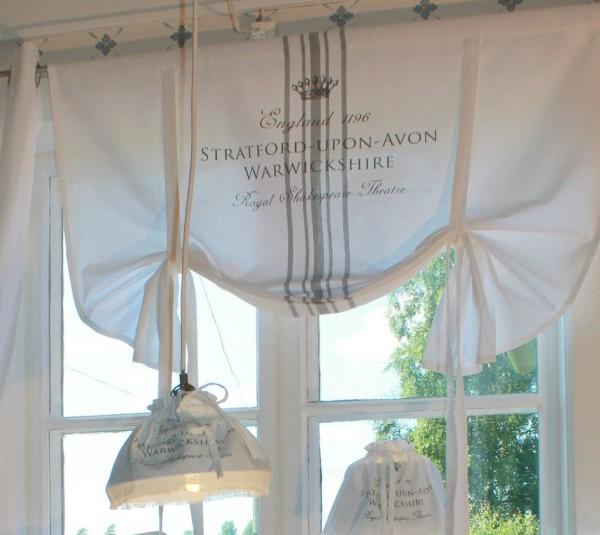 Raff Gardine STRATFORD WEISS Grau 140x120 cm Vintage Shabby Landhaus Baumwolle