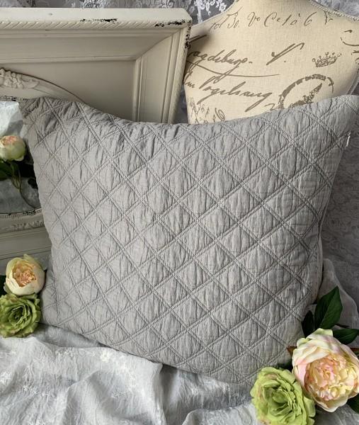 Kissen Bezug Hülle Mona hell grau 50x60 cm Deko Landhaus Polyester