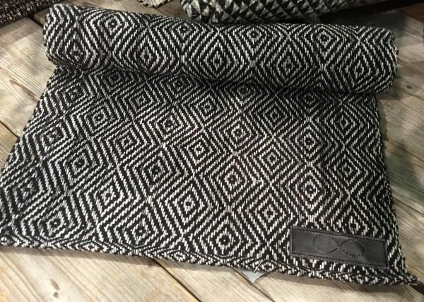 Tischläufer LEVEN Schwarz Grau Offwhite 33x120 cm