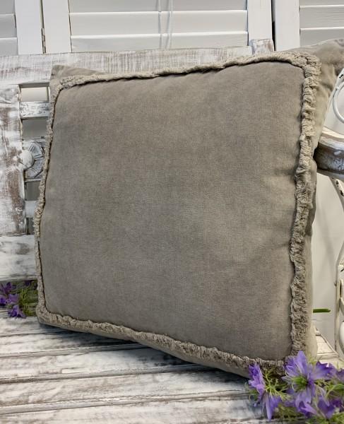 Kissenbezug Hülle ANDO Sand 45x45 cm Samt Baumwolle/Leinen