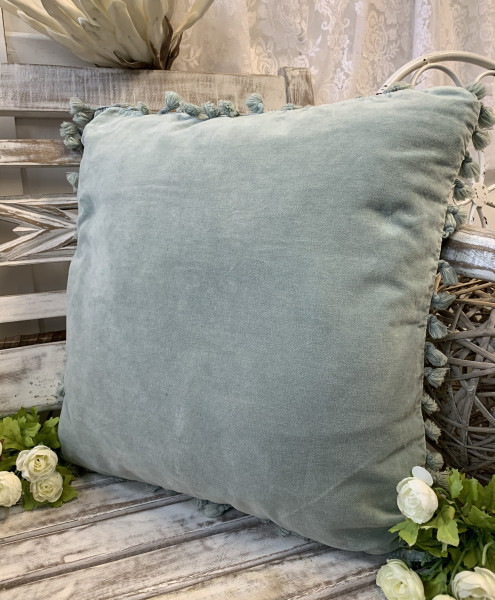 Kissen Bezug Hülle FANNY Aqua 45 x 45 cm Samt Troddeln Baumwolle Landhaus
