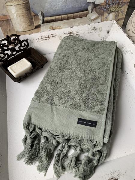 Bade Dusch Handtuch DINA Olivgrün 70x140 cm Frottee Handtuch Fransen