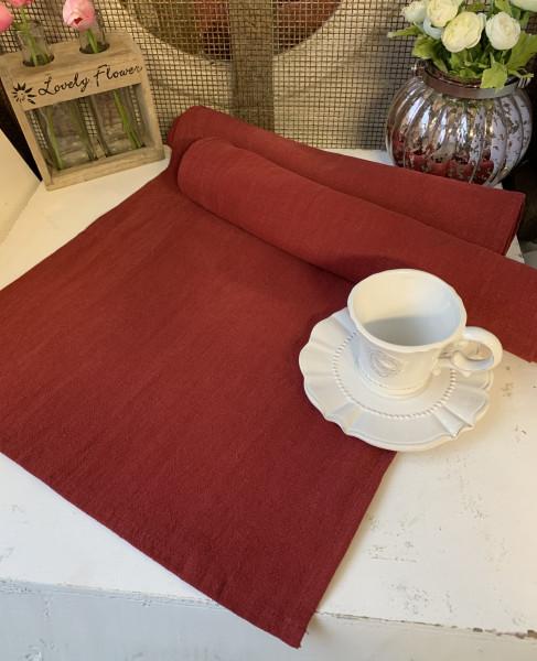 Tischläufer PINO Rot 40 x 140 cm 85% Rami 15% Baumwolle Landhaus