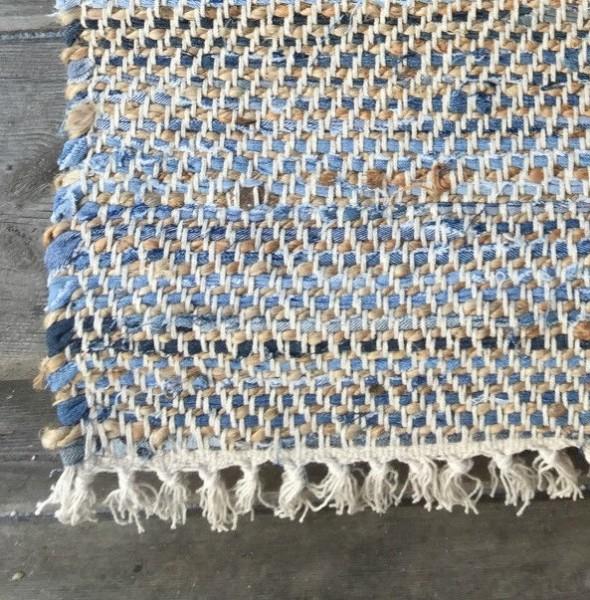 Teppich Läufer LEONARDO Jeans 70 cm x 200 cm Flicken Fleckerl