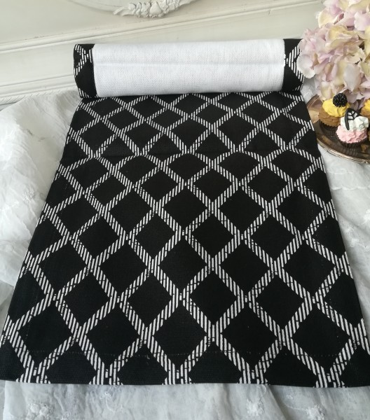 Tischläufer LEVEN schwarz,weiß Landhaus Baumwolle