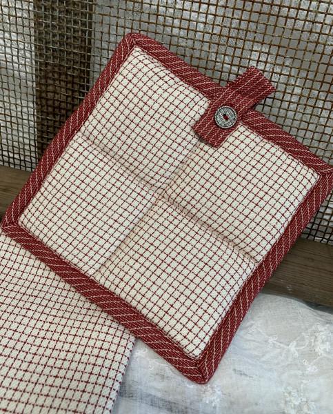 Topflappen BEA Sand Rot Backofen 20 x 20 cm Gestreift Baumwolle Landhaus
