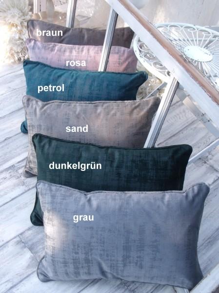 Samt Kissen CHARME 30x50cm mit Inlett diverse Farben Glanz Schimmer Polyester