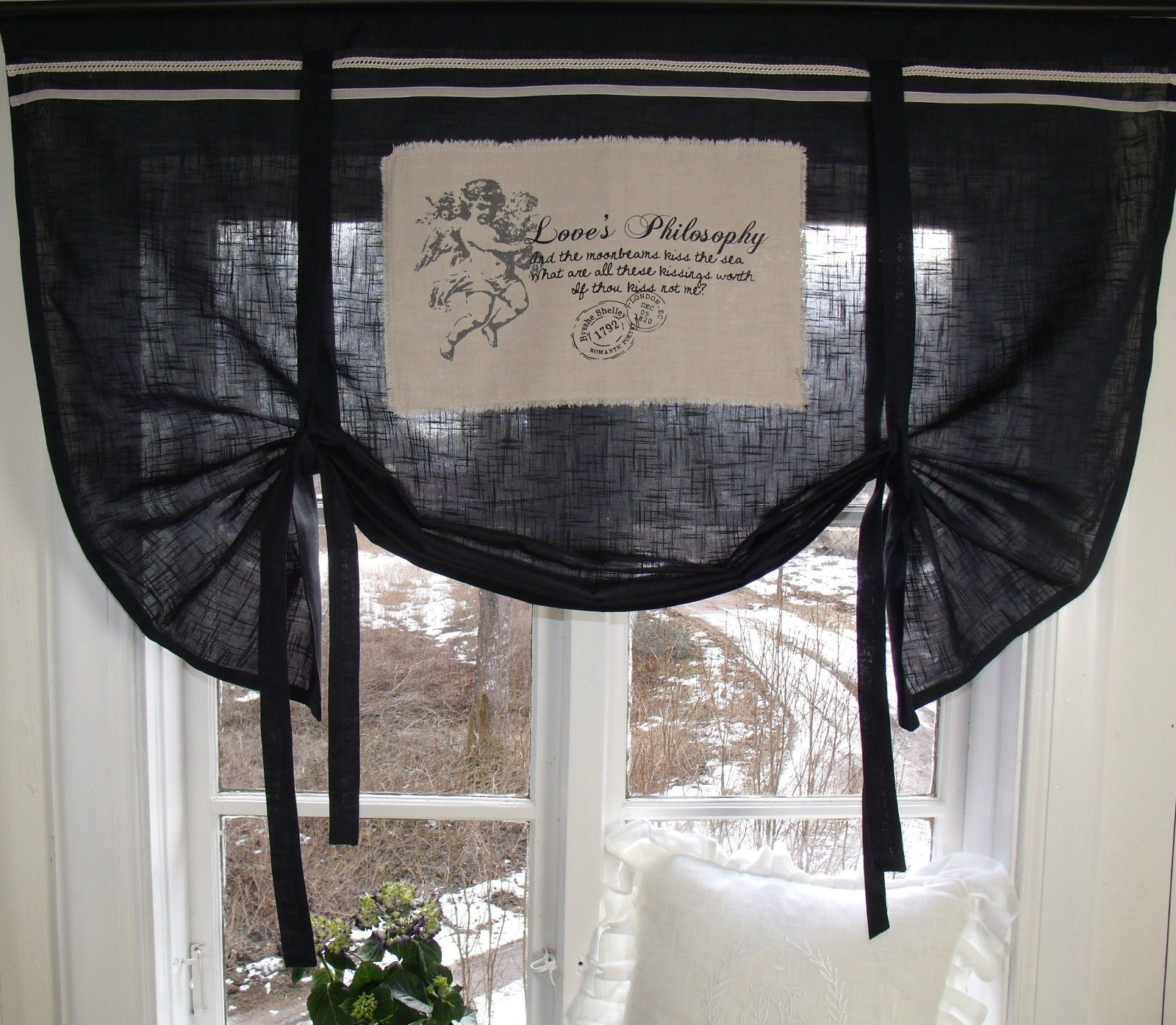 Raff gardine engel rollo schwarz 120x90 cm raffgardinen - Schwarze gardinen ...